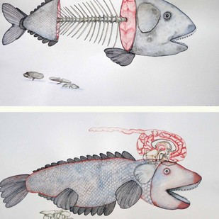 Hungry & angry Indian Fish by Anjan Modak, Illustration Painting, Watercolor on Paper, Gray color