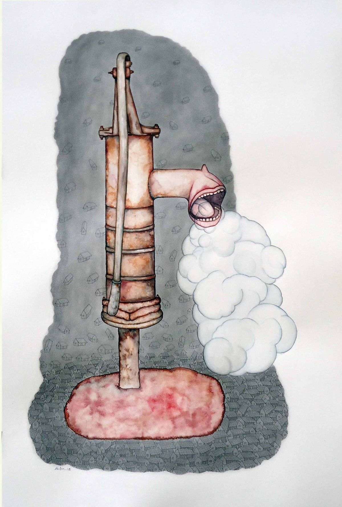 Scream of Abandoned by Anjan Modak, Illustration Painting, Watercolor on Paper, Gray color