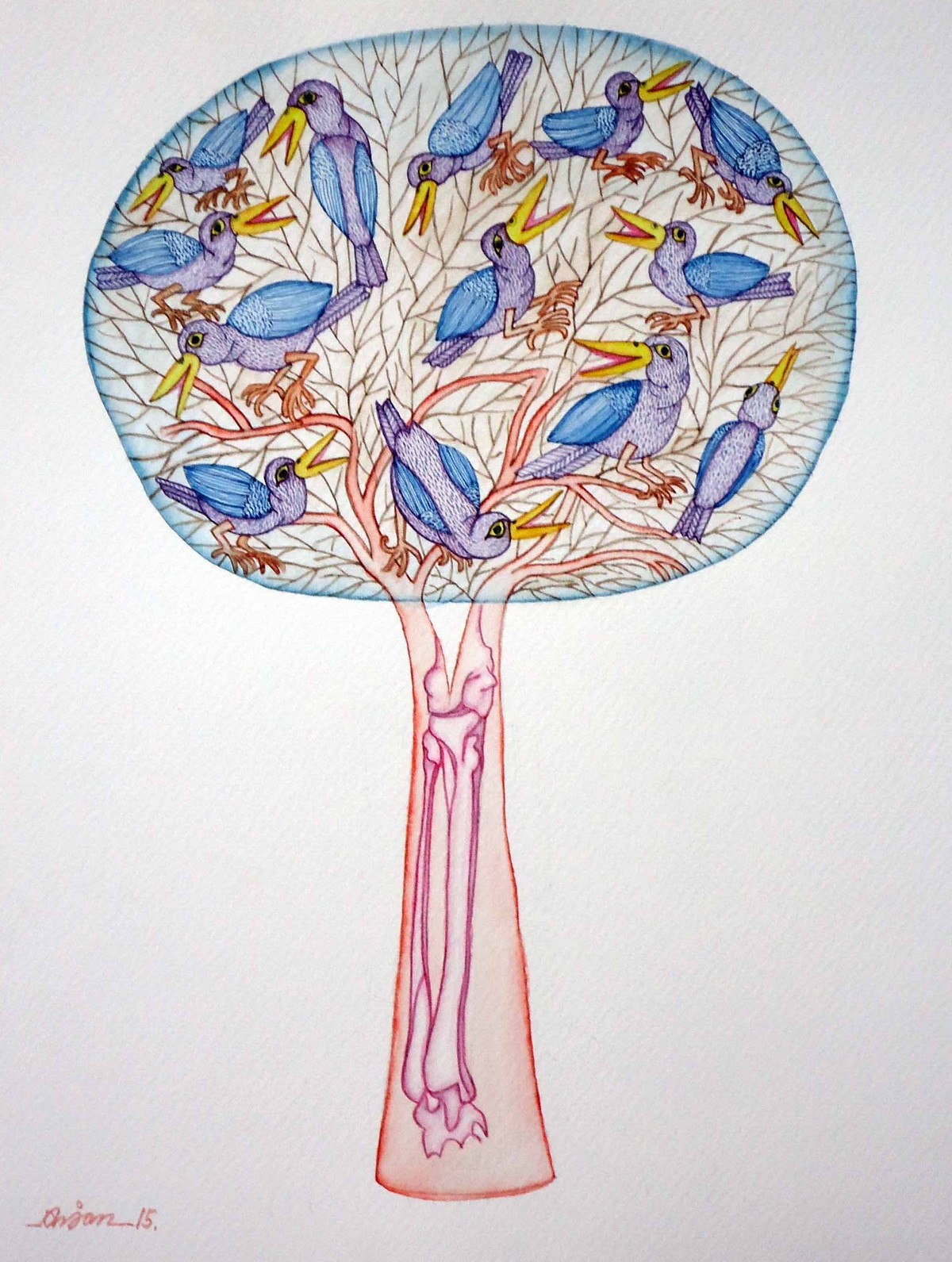 The Last Tree by Anjan Modak, Illustration Painting, Watercolor on Paper, Gray color