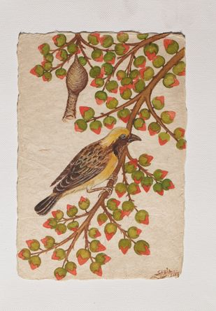 Tryst with Nature by Sabia Khan, Impressionism Drawing, Pen & Ink on Paper, Beige color