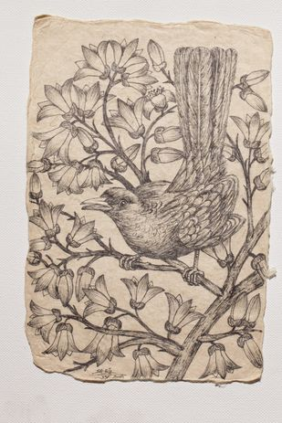 Tryst with Nature by Sabia Khan, Illustration Drawing, Pen & Ink on Paper, Beige color