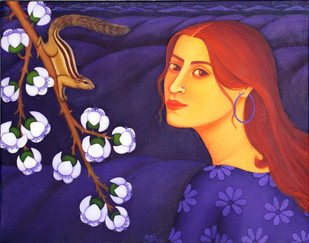 Tryst with Nature by Sabia Khan, Expressionism Painting, Oil on Canvas, Blue color