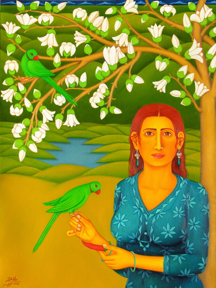 Tryst with Nature by Sabia Khan, Expressionism Painting, Oil on Canvas, Green color