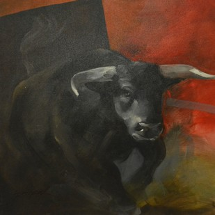 Bull by Gopal Sharma, Expressionism Painting, Acrylic on Canvas, Gray color