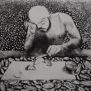 men don't cry by Tarun Sharma, Expressionism Printmaking, Lithography on Paper, Gray color