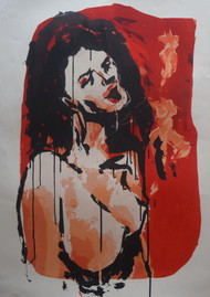 intellectual masturbation - II by Tarun Sharma, Expressionism Printmaking, Serigraph on Paper, Brown color