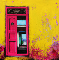 Door 14 by K R Santhanakrishnan, Realism Painting, Acrylic on Canvas, Yellow color