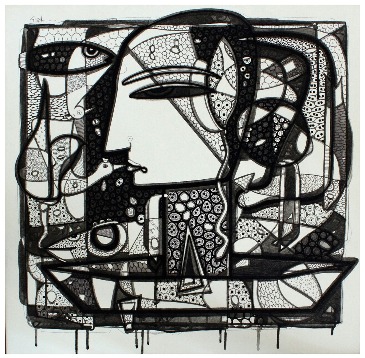 Untitled by Girish Adannavar, Decorative Drawing, Acrylic & Ink on Canvas, Gray color