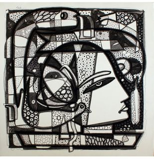 Untitled by Girish Adannavar, Geometrical Drawing, Acrylic & Ink on Canvas, Gray color