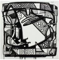 Untitled by Girish Adannavar, Geometrical Drawing, Acrylic & Ink on Canvas, Gray color