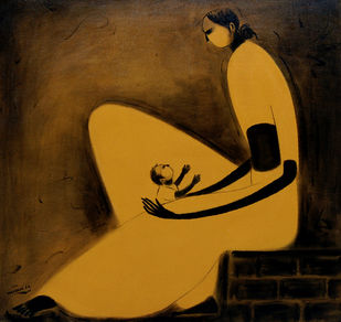Mother with Child - VI by P R Narvekar, Expressionism Painting, Oil on Canvas, Brown color