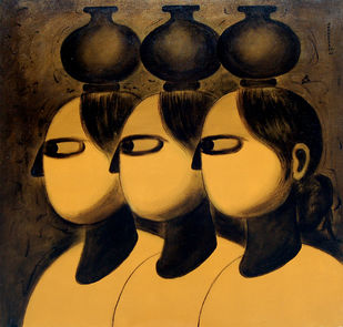 Triple Carriers by P R Narvekar, Expressionism Painting, Oil on Canvas, Brown color
