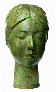 Radha by Suhas Roy, Art Deco Sculpture | 3D, Bronze, Green color