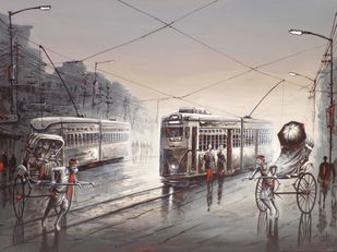 Identity of Kolkata by Ananda Das, Impressionism Painting, Acrylic on Canvas, Gray color