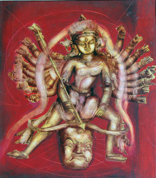 Durga - I by Aditya Basak, Expressionism Painting, Tempera on acid-free board, Brown color