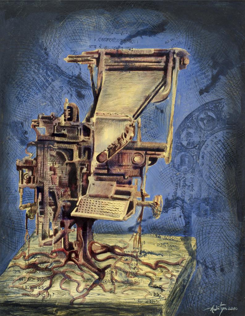 Print Machine - II by Aditya Basak, Pop Art Painting, Tempera on acid-free board, Blue color
