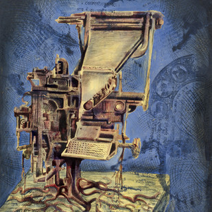 Print Machine - II by Aditya Basak, Pop Art Painting, Tempera on acid-free board, Blue color