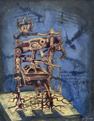 Print Machine - I by Aditya Basak, Pop Art Painting, Tempera on acid-free board, Blue color