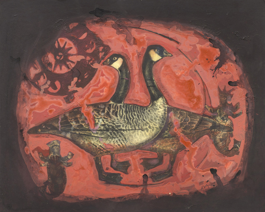 Swan in Red by Aditya Basak, Expressionism Painting, Tempera on acid-free board, Brown color
