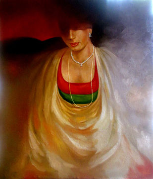 Nayika by Biraj Kumar Paul, Expressionism Painting, Oil on Canvas, Brown color