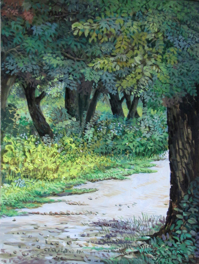 The Forest - I by Biraj Kumar Paul, Realism Painting, Acrylic on Board, Green color