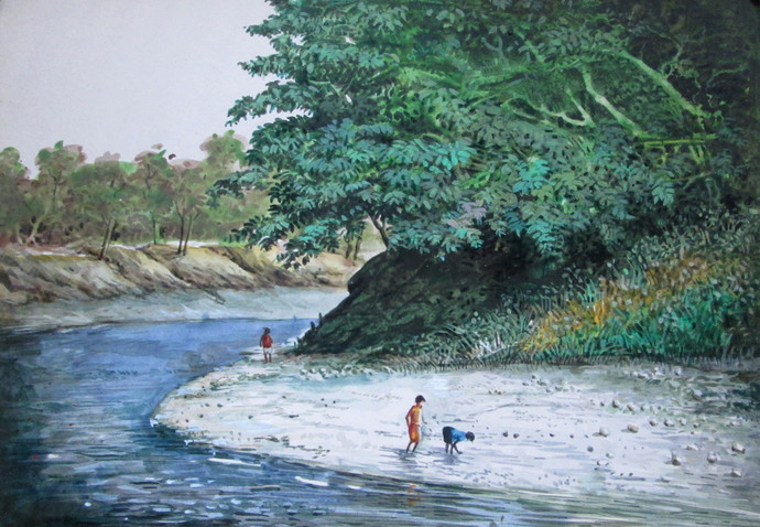 Landscape - I by Biraj Kumar Paul, Realism Painting, Acrylic on Board, Green color