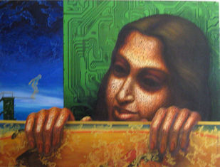 Indiffrent look by Dipak Kundu, Expressionism Painting, Acrylic on Canvas, Brown color