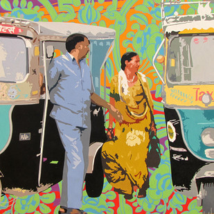 Commuters by Sohan Jakhar, Pop Art Painting, Acrylic on Canvas, Beige color