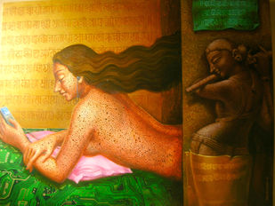 Listner by Dipak Kundu, Fantasy Painting, Acrylic on Canvas, Brown color