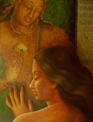 Untitled by Dipak Kundu, Expressionism Painting, Acrylic on Canvas, Brown color