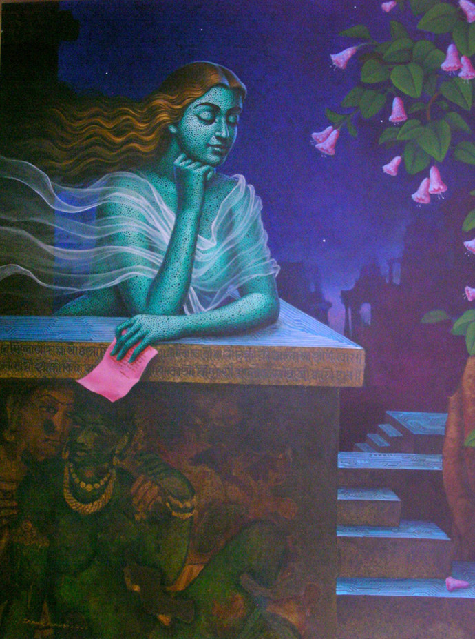 Mid night's dream by Dipak Kundu, Fantasy Painting, Acrylic on Canvas, Blue color