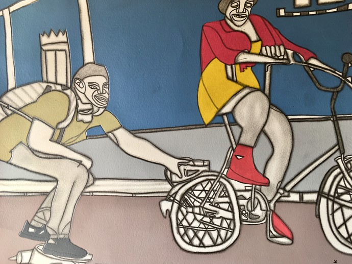 Hot Wheels by Amrit Khurana, Expressionism Painting, Acrylic on Paper, Gray color
