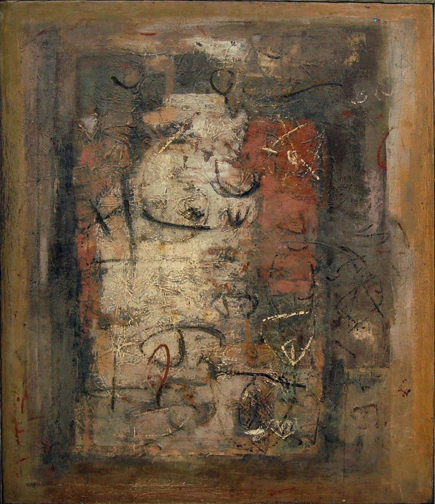 Untitled by Sunil De, Abstract Painting, Oil on Canvas, Brown color