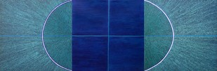Untitled-091 by Sandesh Khule, Geometrical Painting, Oil on Canvas, Blue color