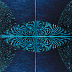 Untitled-094 by Sandesh Khule, Geometrical Painting, Oil on Canvas, Brown color