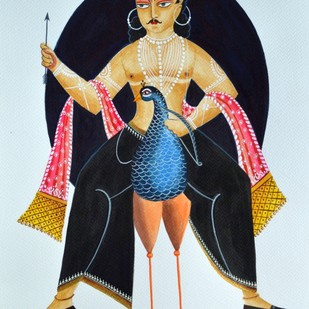 Kartikeya on peacock by Bhaskar Chitrakar, Traditional Painting, Natural colours on paper, Cyan color
