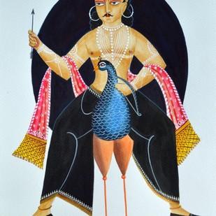 Kartikeya on peacock by Bhaskar Chitrakar, Traditional Painting, Natural colours on paper, Cyan color