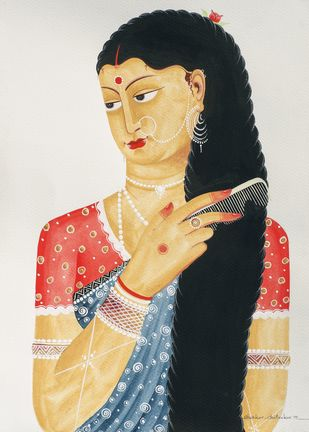 Bibi combing hair by Bhaskar Chitrakar, Traditional Painting, Natural colours on paper, Gray color