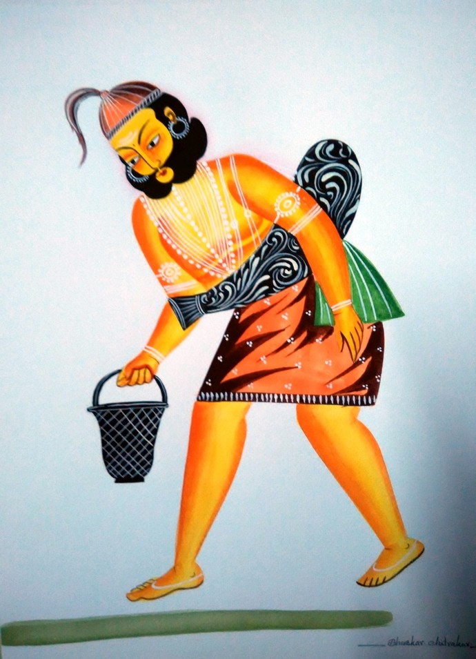 Water Carrier by Bhaskar Chitrakar, Traditional Painting, Natural colours on paper, Beige color
