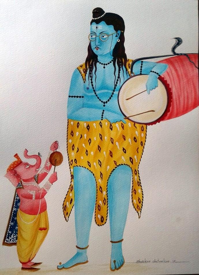 Shiva and Ganesha by Bhaskar Chitrakar, Traditional Painting, Natural colours on paper, Gray color
