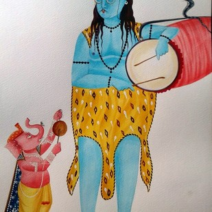 Shiva and Ganesha by Bhaskar Chitrakar, Traditional Painting, Natural colours on paper, Gray color