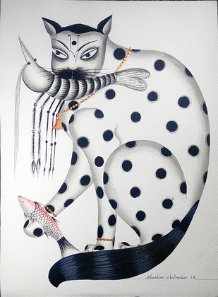 Kalighat cat with prawn and fish by Bhaskar Chitrakar, Traditional Painting, Natural colours on paper, Beige color