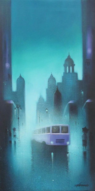 Blue Night by Somnath Bothe, Impressionism Painting, Acrylic on Canvas, Cyan color