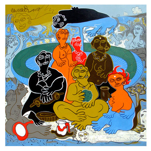 """Supper With The Family-01"" by Satya Dheer Singh, Expressionism Painting, Acrylic on Canvas,"
