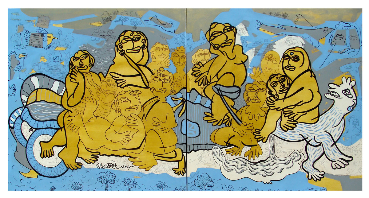 Family photography Near Lake-01 by Satya Dheer Singh, Expressionism Painting, Acrylic on Canvas,