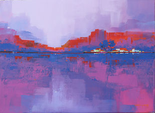 VILLAGE BY THE LAKE by Gangu Gouda, Abstract Painting, Acrylic on Canvas, Purple color