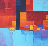 Urban Cityscape 01 by Gangu Gouda, Geometrical Painting, Acrylic on Canvas, Cyan color