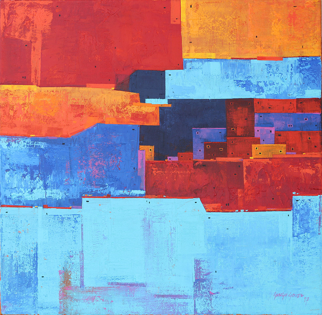 Urban Cityscape 02 by Gangu Gouda, Geometrical Painting, Acrylic on Canvas, Cyan color