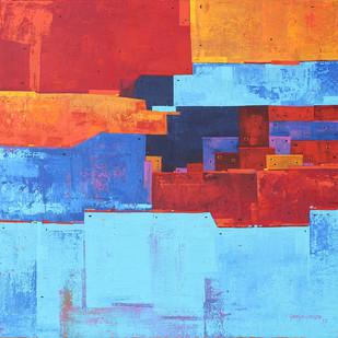 Urban Cityscape 02 by Gangu Gouda, Geometrical Painting, Acrylic on Canvas, Cyan color