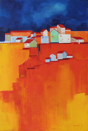 City On The a Hill by Gangu Gouda, Geometrical Painting, Acrylic on Canvas, Orange color